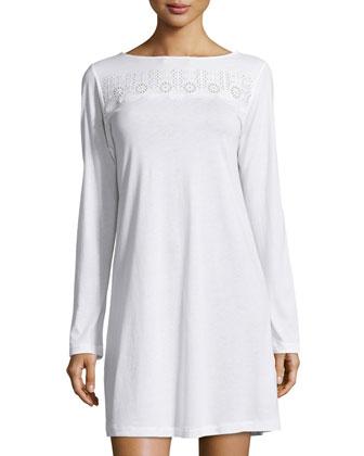 Sangallo Eyelet Long-Sleeve Sleepshirt, White