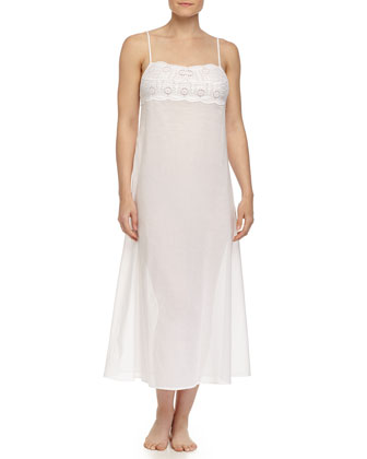 Sangallo Embroidered Long Gown, Bianco