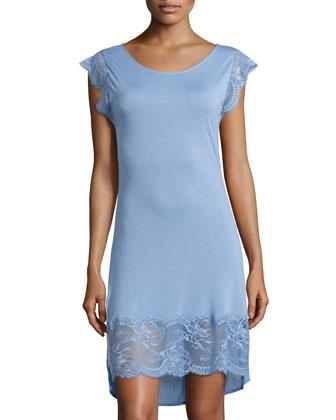 Begonia Lace-Trim Sleepshirt, Sky Blue