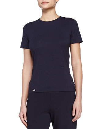 Cotton-Blend Lounge Tee, Blue