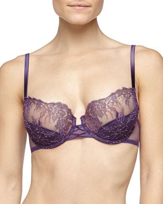 Sophia Lace Demi Bra & Lace-Trim Sheer Thong