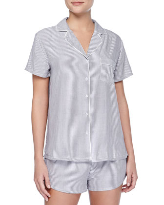 Classic Striped Short Pajama Set, Black/White