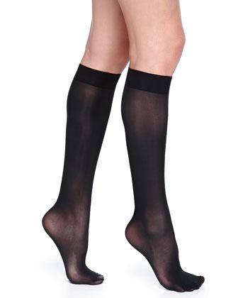 Evolution Semi-Sheer Knee-High Socks, Black