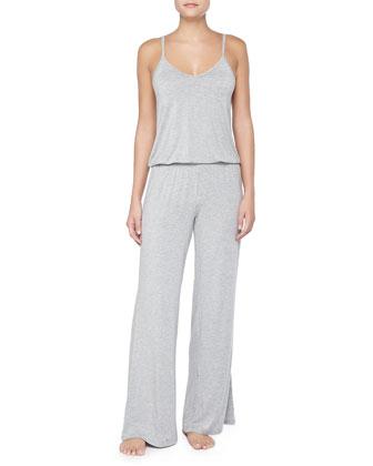 Sleeveless Wide-Leg Jumpsuit, Heather Gray