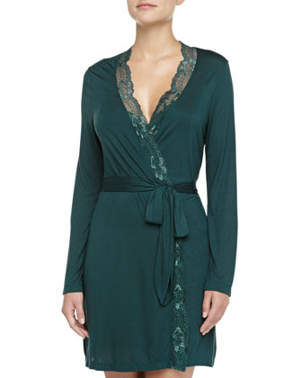 Everly Jersey Lace Robe, Evergreen