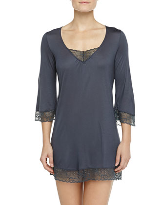 Sloane Lace-Trimmed Tunic, Gunmetal