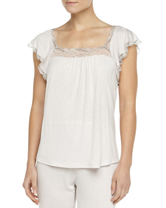 Cassandra Lace-Trimmed Flutter Top, Moonbeam