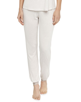 Cassandra Lace-Trimmed Slim Pants, Moonbeam