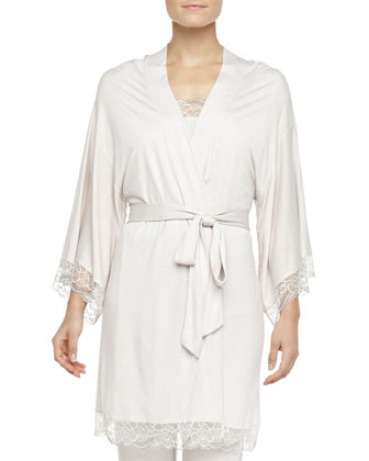 Kimono Robe, Cassandra Lace-Trimmed Flutter Top & Slim Pants, Moonbeam