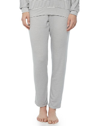 Sadie Striped Drawstring Slim Pants, Storm Cloud