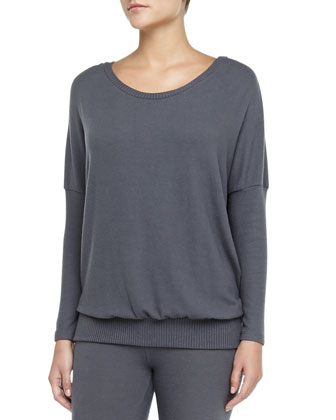 Cozy Time Slouchy Brushed Jersey Tee, Gunmetal
