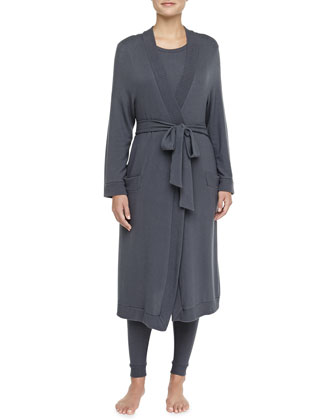 Cozy Time Brushed Jersey Robe, Gunmetal