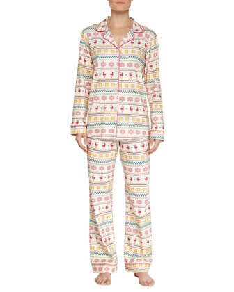 Reindeer Fair Isle Jersey Pajama Set