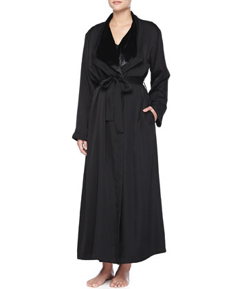 Laundered Satin Long Tank Gown & Plush-Lined Robe