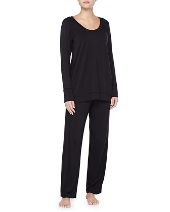 Luxe French Terry Pajama Set, Black