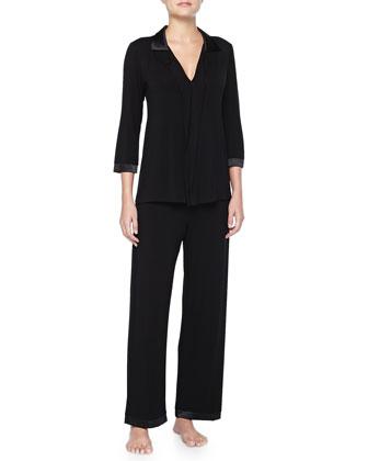 Modal Satin-Trimmed Pajama Set, Black