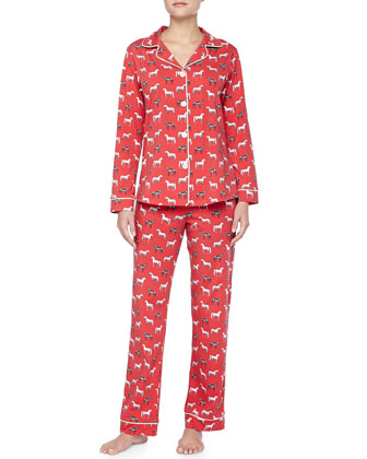 Year Of The Horse Jersey Pajama Set, Red