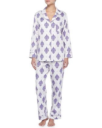 French Quarter Fleur De Lis Sateen Pajama Set, Cream/Purple