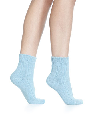 Cashmere-Blend Cozy Ruffled Bedsocks, Light Blue