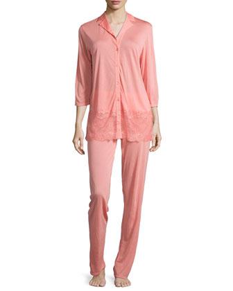 Magnolia Lace-Trim Pajama Set, Coral