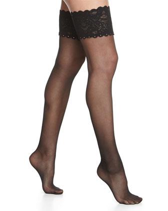 Silk Crystal Stay-Up Thigh-Highs, Black
