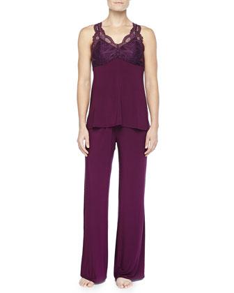 Belle Epoque Lace-Inset Pajama Set, Potent Purple