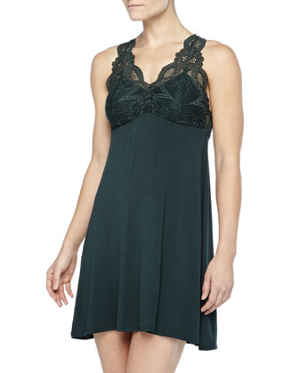 Take Me Away Lace-Inset Chemise & Short Robe, Deep Pine