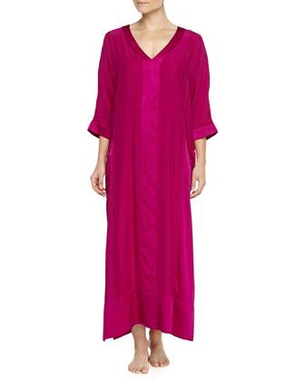 Long Glamour Silk Caftan, Fuchsia