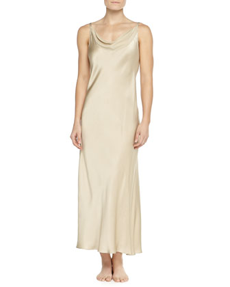 Glamour Washed Silk Long Gown, Champagne