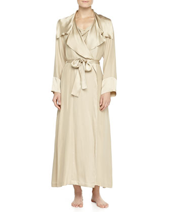 Glamour Washed Silk Long Robe & Long Gown, Champagne