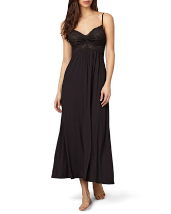 Lace-Top Liquid Jersey Long Gown, Black
