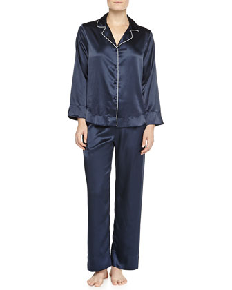 Northern Lights Satin Pajama Set, Navy