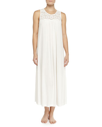 Heirloom Trellis Long Robe & Long Tank Gown, Ivory