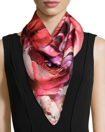 Floral-Print Charmeuse Scarf, Red