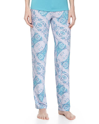 Paisley-Print Pajama Pants, Blue