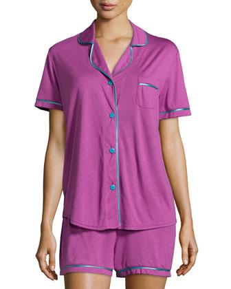 Bella Boxer-Short Jersey Pajama Set, Violet/Blue
