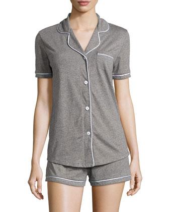 Bella Two-Piece Short Pajama Set, Heather Gray