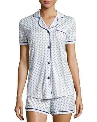 Bella Paisley-Print Two-Piece Pajama Set, White/Blue