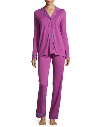 Bella Two-Piece Long Pajama Set, Violet/Blue