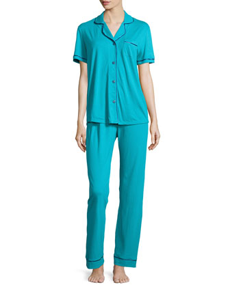 Bella Two-Piece Jersey Pajama Set, Blue/Navy