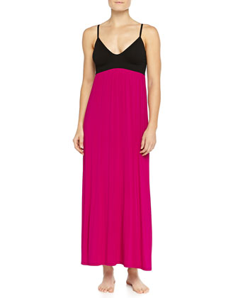 Liquid Jersey Long Gown, Fuchsia