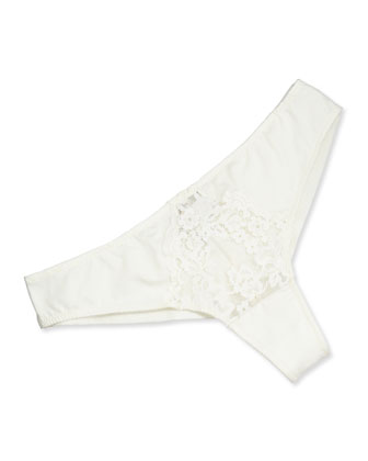 Ravello Wireless Floral Lace Bra & Brazilian Minikini, Ivory