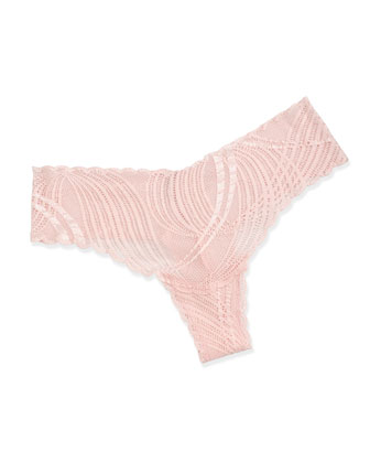 Minoa Basic Soft Bra & Lace Thong, Pink Lilly