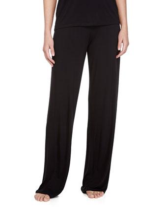 Antoinette Stretch-Knit Wide-Leg Jersey Pants, Black
