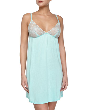 Diana Jersey Chemise w/ Lace Soft Cups, Mint