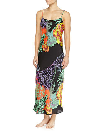 Anna Mixed Floral-Print Long Gown