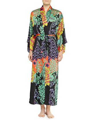 Anna Mixed Floral-Print Kimono Robe