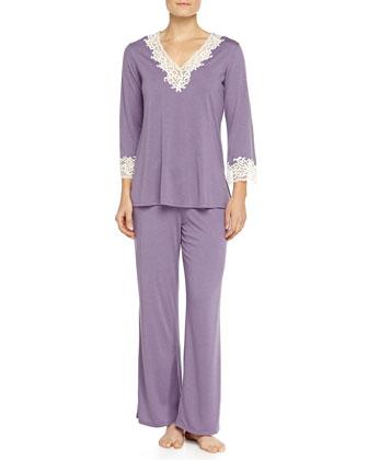 Lhasa Lace-Trimmed Pajama Set, Lavender