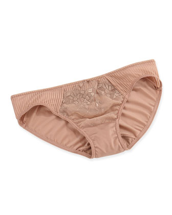 Pont Neuf Lace Striped Briefs, Cinnamon