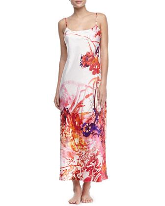 Rococo Long Satin Gown, Multicolor